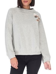 B Collection By Bobeau Embroidered Raglan Sleeve Pullover Grey