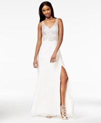 Say Yes To The Prom Juniors' Rhinestone Gown A Macy's Exclusive White Silver