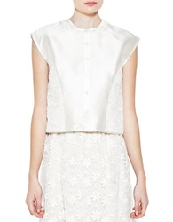 Pink Tartan Embroidered Organza Top Cream