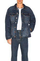 Martine Rose Darted Denim Jacket With Quilted Lining In Blue