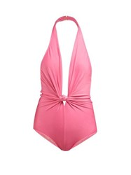 Adriana Degreas Halterneck Knotted Swimsuit Pink