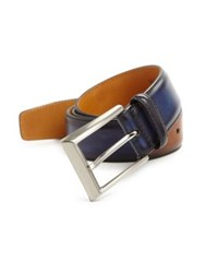 Saks Fifth Avenue Two Tone Burnished Leather Belt Navy Tan