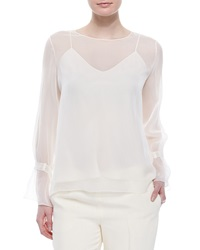 The Row Chiffon Tabbed Blouse W Camisole Ivory