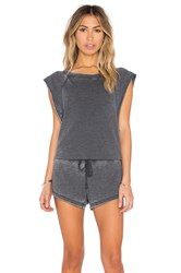Bobi Burnout Pilled Terry Sleeveless Romper Gray