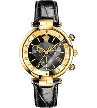 Versace Vaj04 0016 Leather And Gold Toned Watch Black