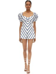 Alice Mccall Striped Cotton Poplin Romper White