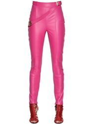 Trussardi Skinny Belted Nappa Leather Pants