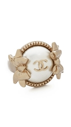 Wgaca Vintage Chanel Pearl Bow Ring Gold