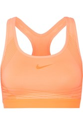 Nike Pro Hyper Mesh Trimmed Dri Fit Stretch Jersey Sports Bra Orange