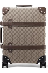 Gucci Globe Trotter Leather Trimmed Coated Canvas Suitcase Brown