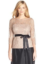 Adrianna Papell Illusion Metallic Lace Top