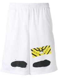 Off White Perforated Shorts White