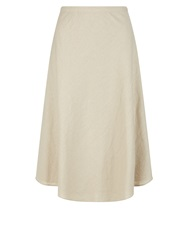 Dash Linen Knee Length Skirt Taupe