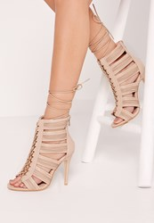 Missguided Cut Out Lace Up Heeled Gladiator Nude Beige