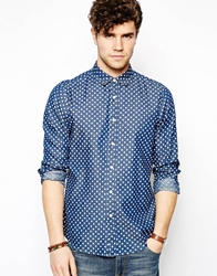 Asos Polka Dot Shirt In Long Sleeve Blue