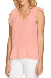 Cece Tie Shoulder Layered Blouse Coral Mist