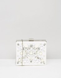 Chi Chi London Embellished Box Clutch Bag White