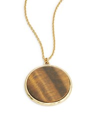 Lauren Ralph Lauren Tigers Eye Disk Pendant Necklace Brown