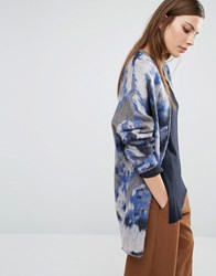 Selected Christel Oversized Cardigan In Blue Marble Multi