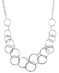 Nine West Necklace Silver Tone Circle Frontal Necklace