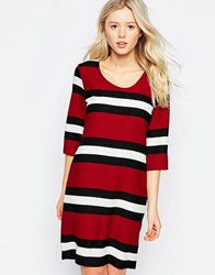 B.Young Striped 3 4 Sleeve Shift Dress Royal Red