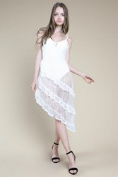 Honey Punch Sheer Lace Ruffle Skater Dress By White