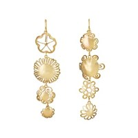 Judy Geib Mismatched Floral Drop Earrings Gold