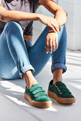 Urban Outfitters Hollie Three Strap Creeper Sneaker Dark Green
