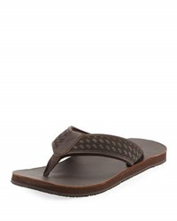 Tommy Bahama Castro Woven Flat Thong Sandal Dark Brown