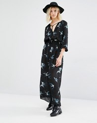 Gat Rimon Taho Long Sleeve Swallow Print Dress Noir Black