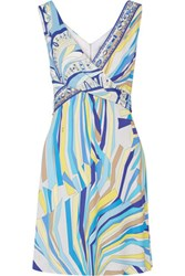 Emilio Pucci Draped Printed Stretch Jersey Dress Turquoise
