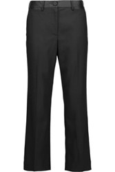 Helmut Lang Cropped Satin Trimmed Wool Blend Straight Leg Pants Black