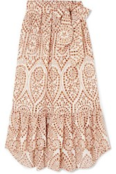 Lisa Marie Fernandez Nicole Embroidered Broderie Anglaise Cotton Maxi Skirt Orange