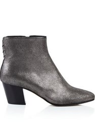 Hudson Rosetta Metallic Suede Ankle Boot Silver