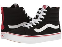 Vans Sk8 Hi Slim Zip Valentines Black Racing Red Skate Shoes