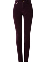 Amapa High Waisted Velvet Skinny Trousers Pink And Purple