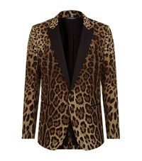 Dolce And Gabbana Leopard Print Martini Jacket Male Brown