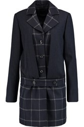 Marissa Webb Max Pinstriped And Checked Wool Blend Coat Midnight Blue