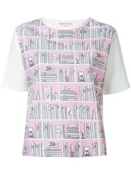 Olympia Le Tan Bookshelf Print T Shirt Pink And Purple