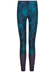 Adidas Stella Mccartney Teal And Navy Running Tights White