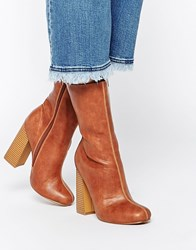 Truffle Collection Nia Calf Heeled Ankle Boots Tan