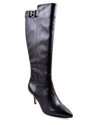 Adrienne Vittadini Swanny Leather Boots Black