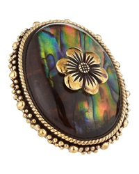 Stephen Dweck Rock Crystal Mother Of Pearl Flower Ring 6