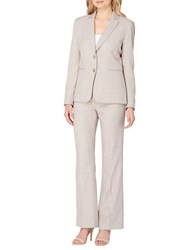 Tahari By Arthur S. Levine Petite Two Piece Notch Collar Jacket And Pant Suit Sand