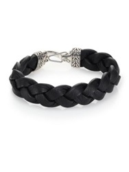 John Hardy Classic Chain Sterling Silver And Leather Braided Hook Bracelet Black Silver