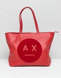 Armani Exchange Ax Face Logo Tote Bag Red