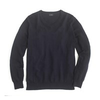 J.Crew Slim Textured Cotton V Neck Sweater Deep Navy