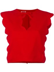 Giambattista Valli Scalloped Crop Top Women Silk Spandex Elastane Viscose 42 Red