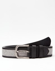 Asos Belt In Black Faux Leather With Charcoal Felt