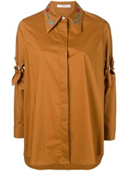 Vivetta Tie Knot Sleeve Shirt Brown